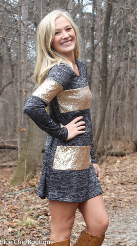 Celebrate in Sequins Dress - Light  Grey - Blue Chic Boutique  - 2