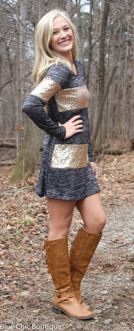 Celebrate in Sequins Dress - Light  Grey - Blue Chic Boutique  - 5