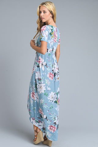 Vintage Garden High Low Dress - Blue
