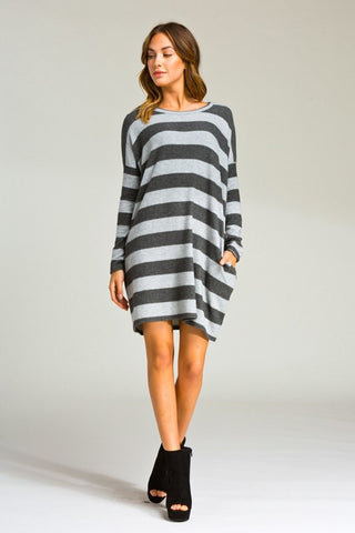 Striped Winter Dress - Light Grey - Blue Chic Boutique  - 2
