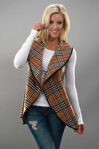 Plaid Vest - Beige - Blue Chic Boutique  - 1