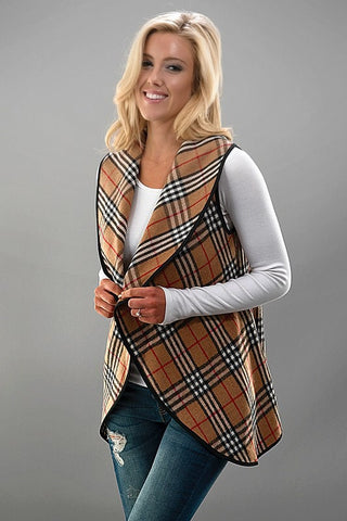 Plaid Vest - Beige - Blue Chic Boutique  - 2