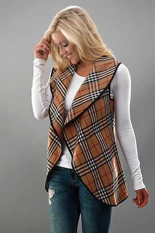 Plaid Vest - Beige - Blue Chic Boutique  - 3