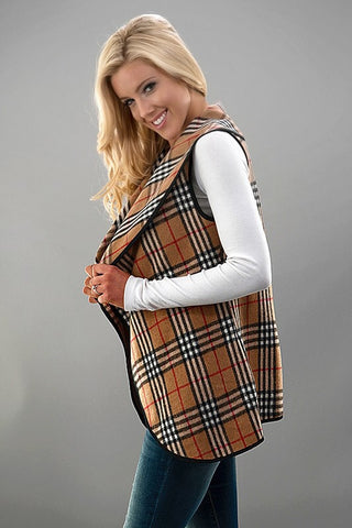 Plaid Vest - Beige - Blue Chic Boutique  - 5
