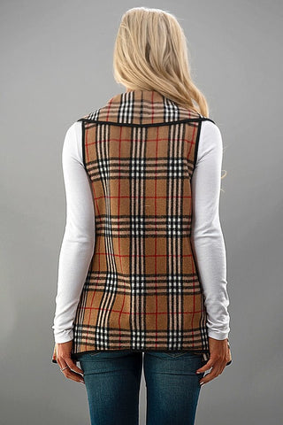 Plaid Vest - Beige - Blue Chic Boutique  - 6