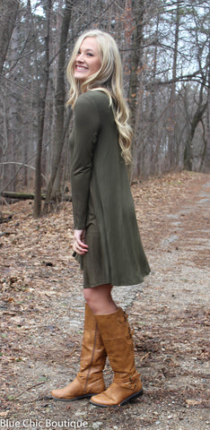 Long Sleeve Sleeve Trapeze Dress  - Olive - Blue Chic Boutique  - 1