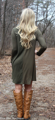 Long Sleeve Sleeve Trapeze Dress  - Olive - Blue Chic Boutique  - 2