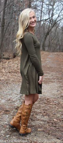 Long Sleeve Sleeve Trapeze Dress  - Olive - Blue Chic Boutique  - 3