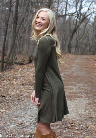 Long Sleeve Sleeve Trapeze Dress  - Olive - Blue Chic Boutique  - 4