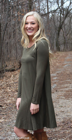 Long Sleeve Sleeve Trapeze Dress  - Olive - Blue Chic Boutique  - 5