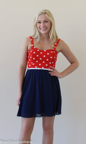 All American Sweetheart Dress - Navy and Red - Blue Chic Boutique  - 1