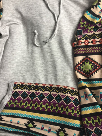 Absrtact Print Hoodie - Grey - Blue Chic Boutique  - 2