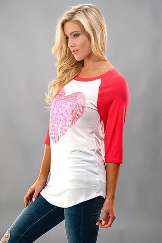 Sequined Heart Baseball Tee - Pink - Blue Chic Boutique  - 1