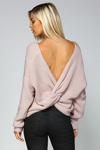 Open Back Sweater - Mauve - Blue Chic Boutique  - 2