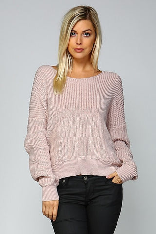 Open Back Sweater - Mauve - Blue Chic Boutique  - 1