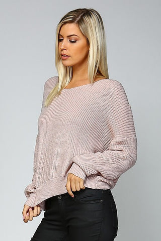 Open Back Sweater - Mauve - Blue Chic Boutique  - 3