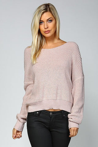 Open Back Sweater - Mauve - Blue Chic Boutique  - 4