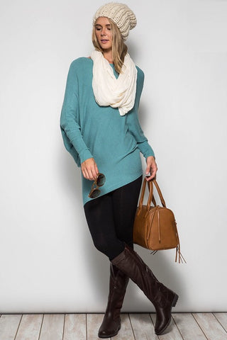 Slouchy Ribbed Sweater - Blue - Blue Chic Boutique  - 2