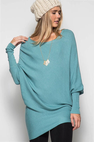 Slouchy Ribbed Sweater - Blue - Blue Chic Boutique  - 1