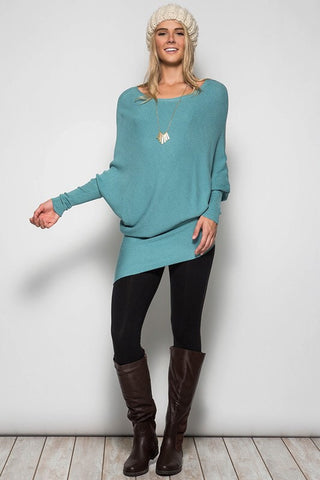 Slouchy Ribbed Sweater - Blue - Blue Chic Boutique  - 6