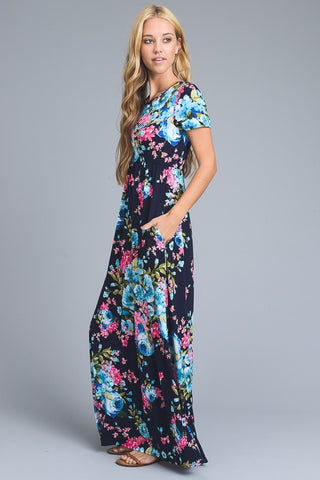 Short Sleeve Floral Maxi Dress - Navy