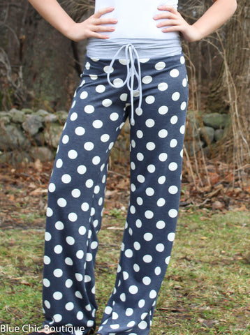 Casual Polka Dot Pants - Navy - Blue Chic Boutique  - 6