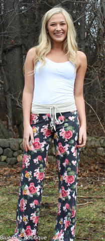Casual Floral Pants - Navy - Blue Chic Boutique  - 6