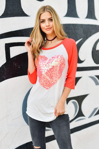 Sequined Heart Baseball Tee - Pink - Blue Chic Boutique  - 4
