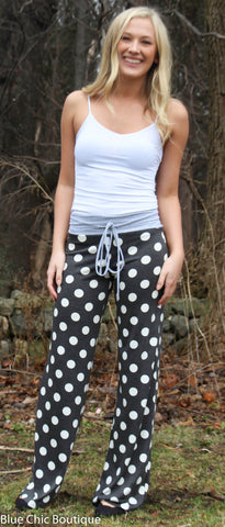 Casual Polka Dot Pants - Light Gray - Blue Chic Boutique  - 7