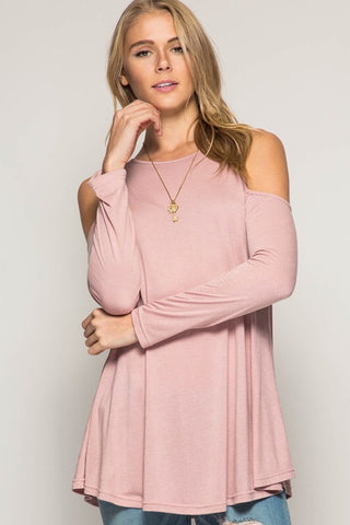 Impromptu Gathering Cold Shoulder Top - Rose - Blue Chic Boutique  - 1
