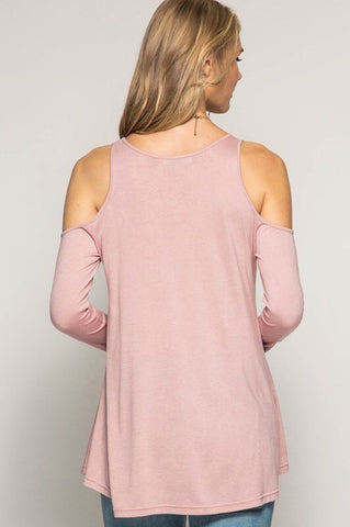 Impromptu Gathering Cold Shoulder Top - Rose - Blue Chic Boutique  - 3