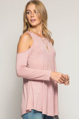 Impromptu Gathering Cold Shoulder Top - Rose - Blue Chic Boutique  - 2
