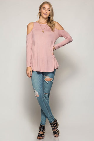 Impromptu Gathering Cold Shoulder Top - Rose - Blue Chic Boutique  - 5