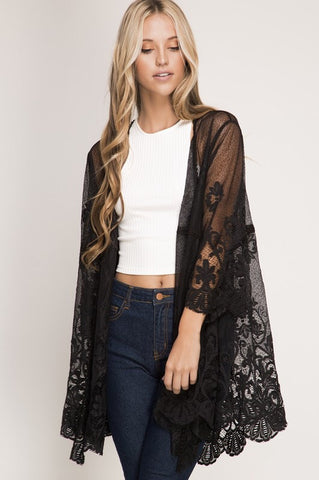 Lace Kimono Cardigan - Black - Blue Chic Boutique  - 1