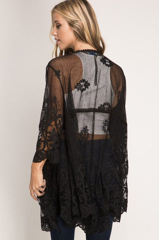 Lace Kimono Cardigan - Black - Blue Chic Boutique  - 2