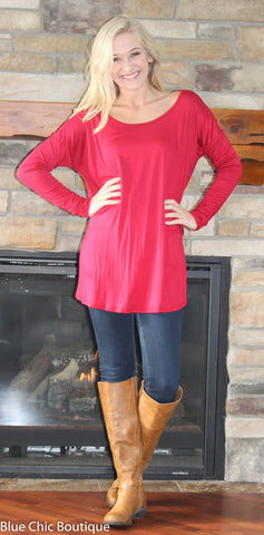 Round Neck Jersey Knit Top - Red - Blue Chic Boutique  - 5