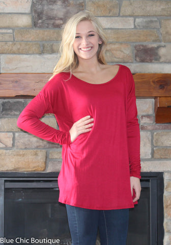 Round Neck Jersey Knit Top - Red - Blue Chic Boutique  - 1