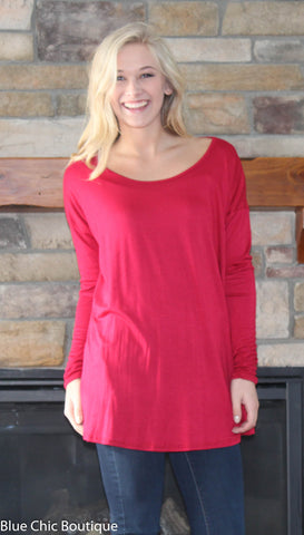 Round Neck Jersey Knit Top - Red - Blue Chic Boutique  - 4