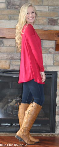 Round Neck Jersey Knit Top - Red - Blue Chic Boutique  - 3