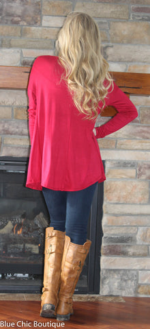 Round Neck Jersey Knit Top - Red - Blue Chic Boutique  - 6