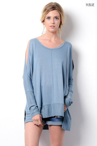 Happy Weekend Top - Medium Blue - Blue Chic Boutique  - 1
