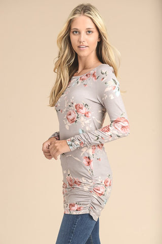 Floral Long Sleeve Tunic Top - Taupe