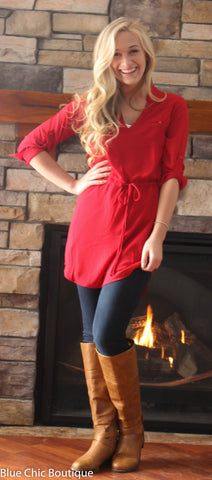 Cambria 3/4 Sleeve Tunic - Red - Blue Chic Boutique  - 2