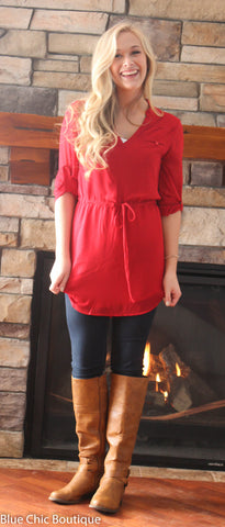 Cambria 3/4 Sleeve Tunic - Red - Blue Chic Boutique  - 4