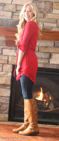 Cambria 3/4 Sleeve Tunic - Red - Blue Chic Boutique  - 5