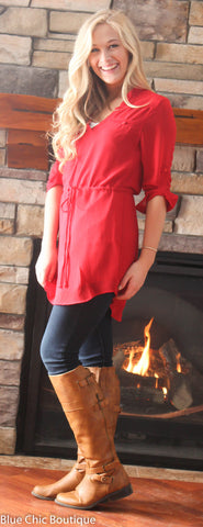 Cambria 3/4 Sleeve Tunic - Red - Blue Chic Boutique  - 6
