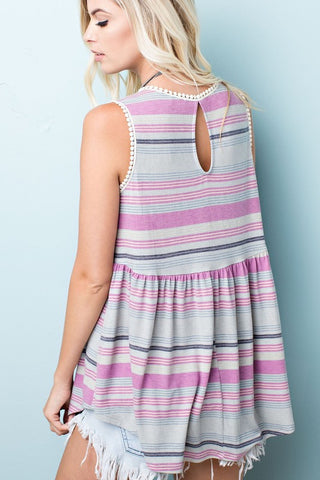 Sunshine State of Mind Top - Candy Stripe Pink