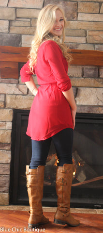 Cambria 3/4 Sleeve Tunic - Red - Blue Chic Boutique  - 9