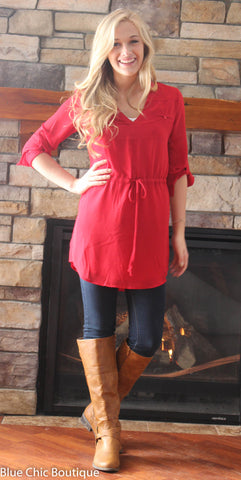 Cambria 3/4 Sleeve Tunic - Red - Blue Chic Boutique  - 10