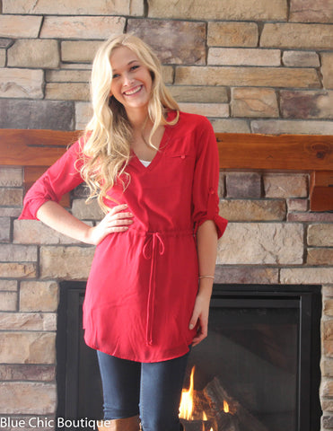 Cambria 3/4 Sleeve Tunic - Red - Blue Chic Boutique  - 3
